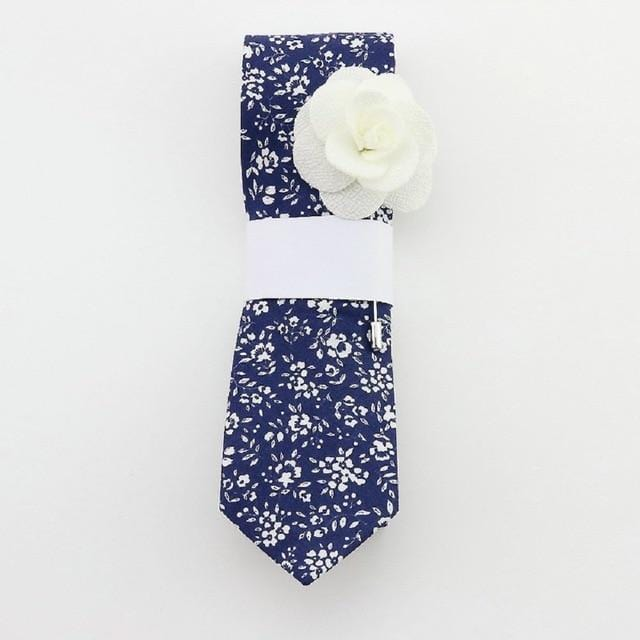 Floral Cotton Tie -  Dark cornflower Blue -offthewood