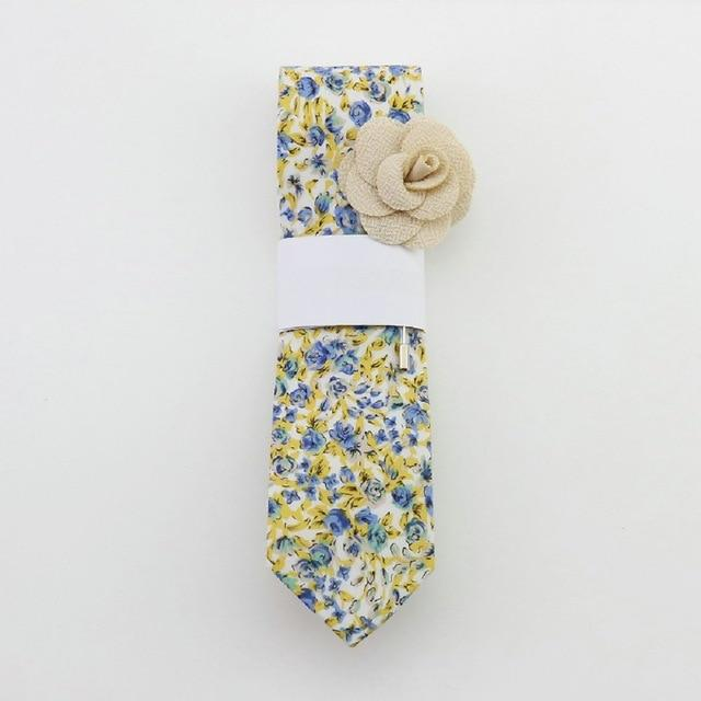 Floral Cotton Tie - Buff -offthewood