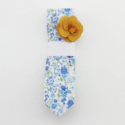 Floral Cotton Tie set - Light Blue 2 -offthewood