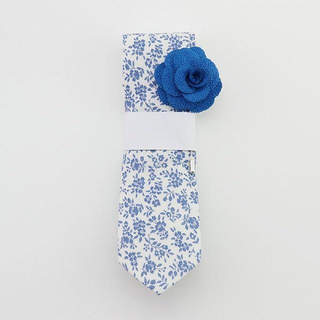 Floral Cotton Tie- White & Blue -offthewood