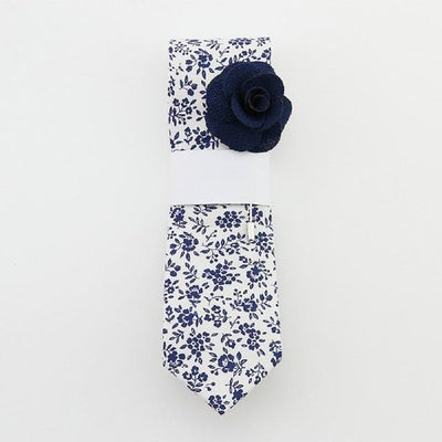 Floral Cotton Tie set - White Navy Blue -offthewood