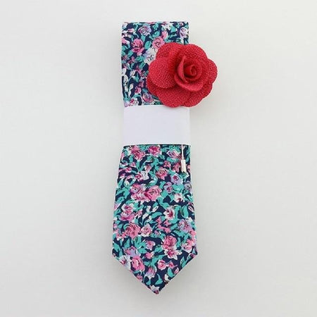 Floral cotton tie set -  Blue ocean -offthewood