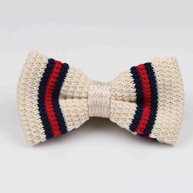 Knitted Adjustable Bowtie - Cream Red Striped -offthewood