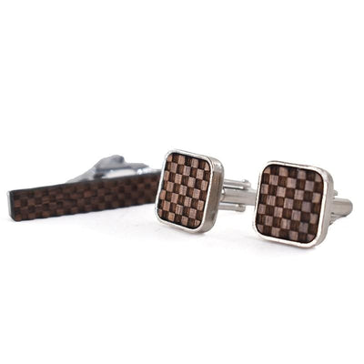 Cufflinks & Tie bar Set- wooden checkered -offthewood