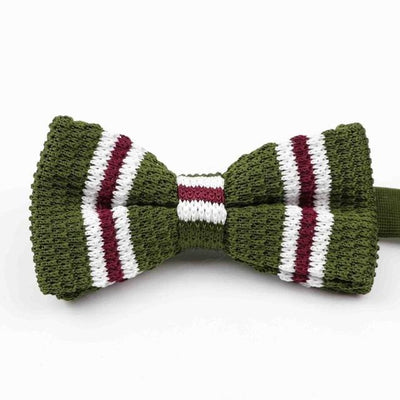 Knitted Adjustable  Bowtie - Android Green Striped -offthewood