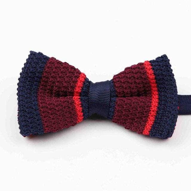Knitted adjustable Bow tie -  Burgundy dark blue striped -offthewood
