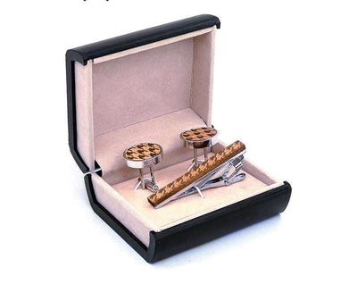 Cufflinks Tie Clips Set - Walnut wood -offthewood