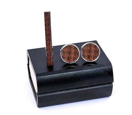 Cufflinks Tie Clips Set - Teak wood -offthewood