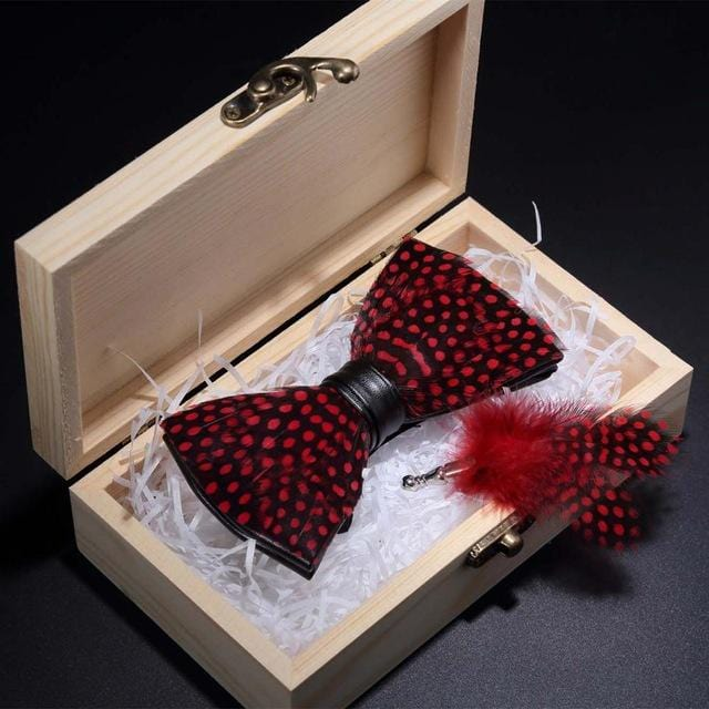 Red Feather Handmade Bow tie -offthewood