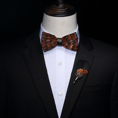 Brown Feather HandMade Bow tie -offthewood