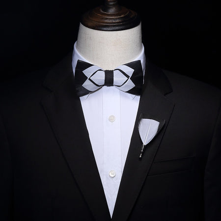 Black and White Feather Hand Made Bow tie -offthewood