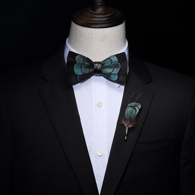 Black and Blue Feather HandMade Bow tie -offthewood