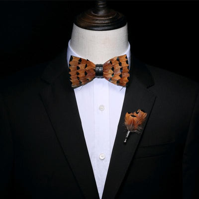 Deep orange Feather Handmade Bow tie -offthewood