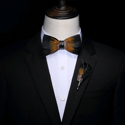 Black Golden Feather Hand Made Bow tie -offthewood