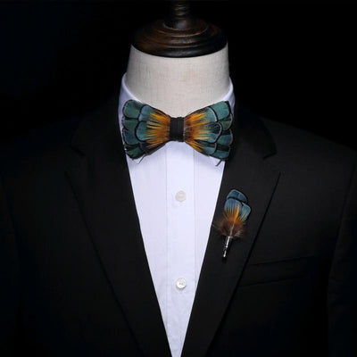 Green and Gold Feather HandMade Bow tie -offthewood