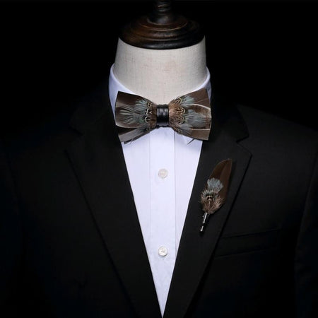 Pheasant Feather Bow tie -offthewood