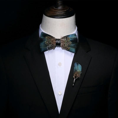 Navy Blue Feather HandMade Bow tie -offthewood
