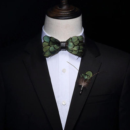 Green Natural Feather Handmade Bow tie -offthewood
