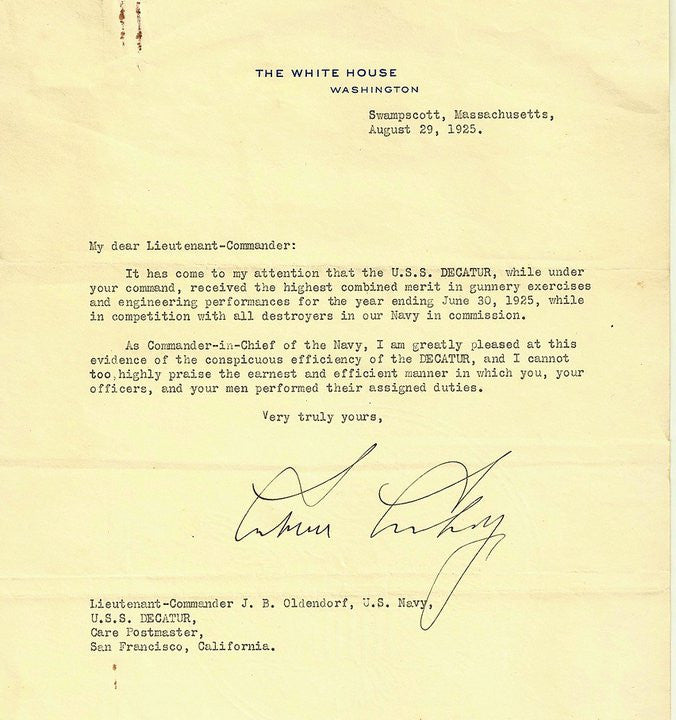 Calvin Coolidge as President August 29, 1925 TLS to Lt. Commander J. D. Olendorf.