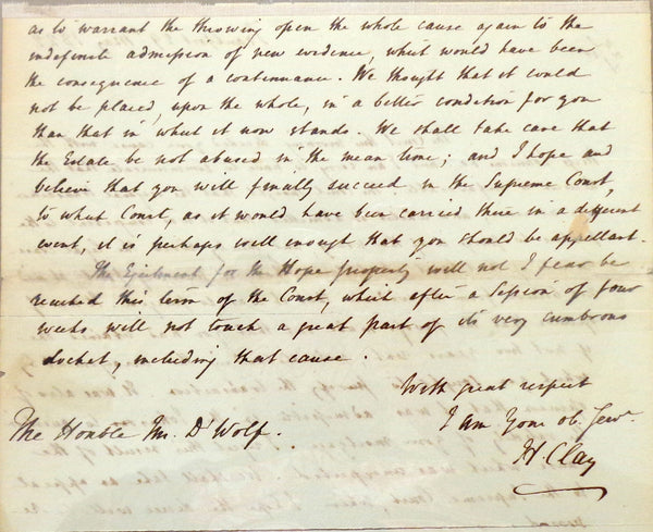 Henry Clay May 29, 1822 ALS to James De Wolfe - US Supreme Court Case