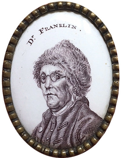 "Benjamin Franklin Portrait 18th Century ""Leaders of the American Revolution"" Enamel Transfer"