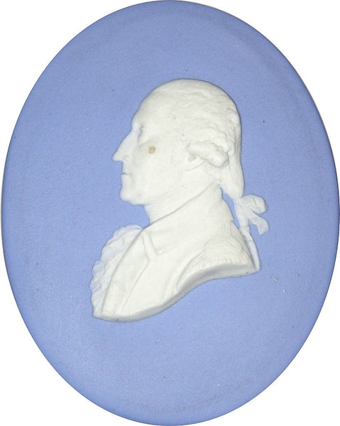 Circa 1780 Rare Large George Washington Wedgwood Blue Jasperware Portrait Medallion