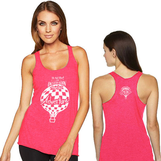 """IT'S NOT ABOUT THE DESTINATION, IT'S ABOUT THE ADVENTURE"" lightweight tank/vintage pink"