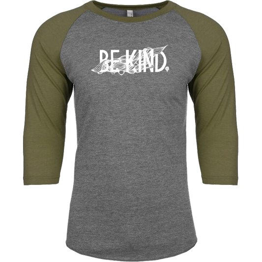"""BE KIND"" unisex military green 3/4 sleeves/vintage gray body"