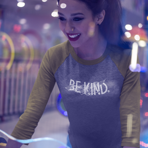 BE KIND | unisex 3/4 sleeve baseball tee | gray/green