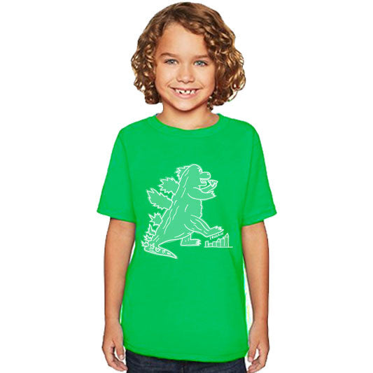 CRUSHIN Dino Eating Pizza | boys tshirt | green