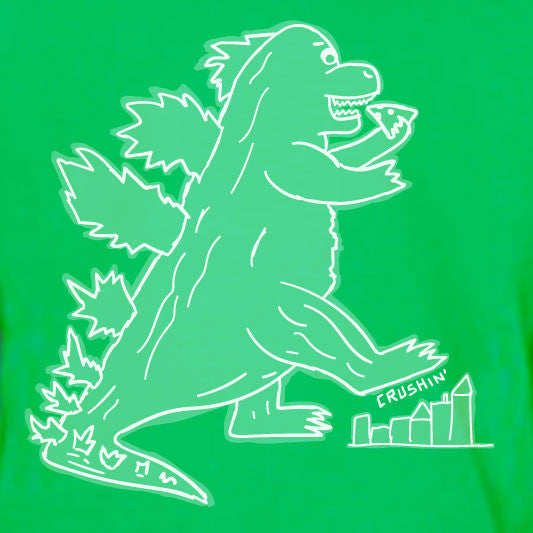 """CRUSHIN"" Dino Eating Pizza crew/green"