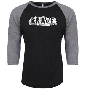 BRAVE | unisex 3/4 sleeves baseball tee | black/gray