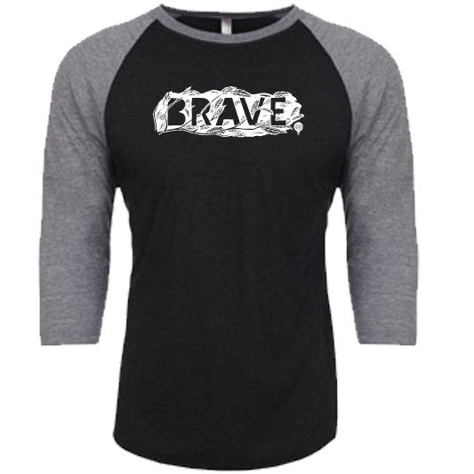 """BRAVE"" unisex gray 3/4 sleeves/vintage black body"