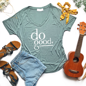 DO GOOD | women flowy vneck tee | blue-gray