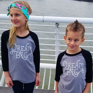 """DREAM BIG"" unisex black 3/4 sleeves/gray body"