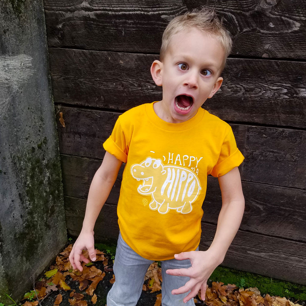 HAPPY as a HIPPO | boys tshirt | gold