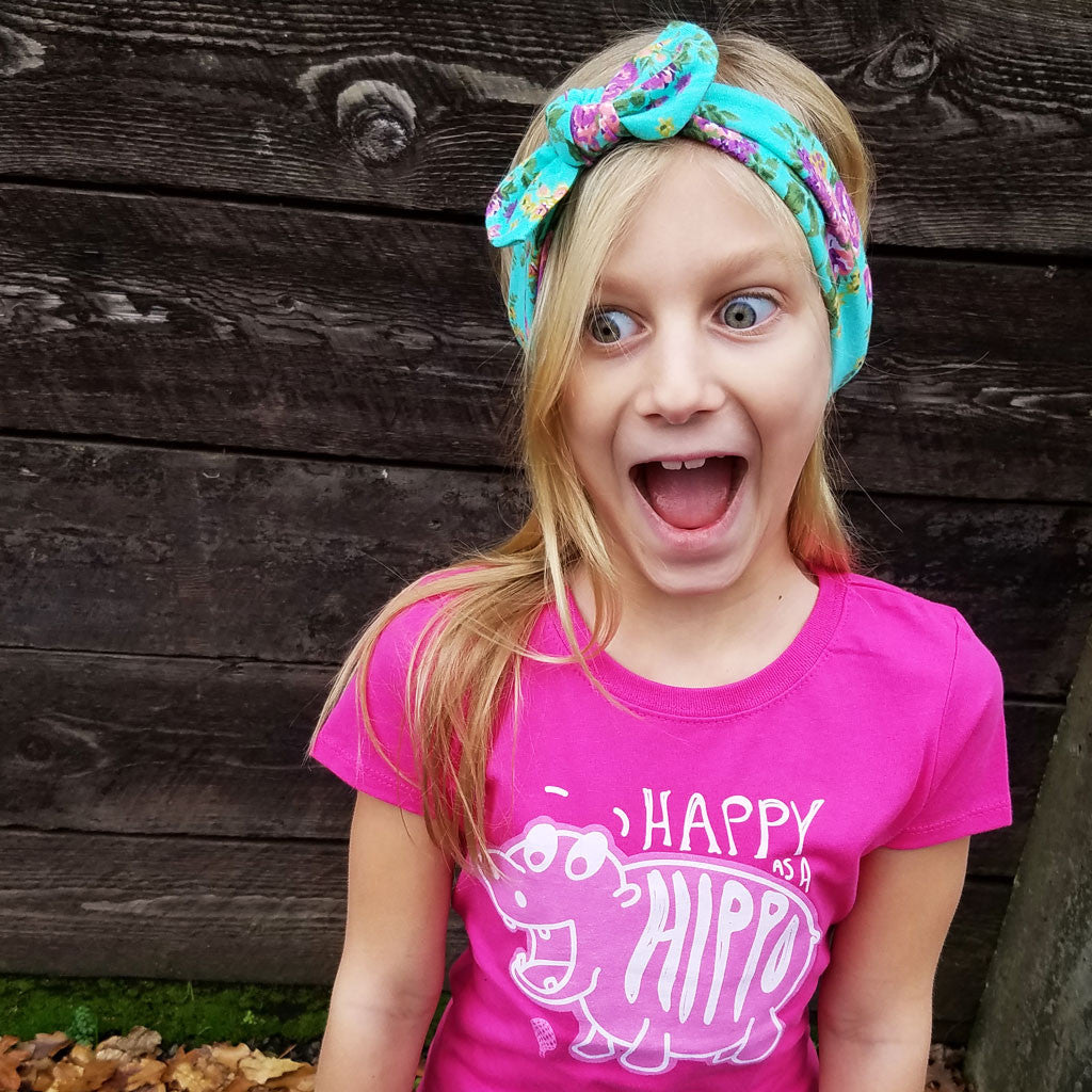 HAPPY as a HIPPO | girls tshirt | pink