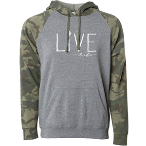 LIVE LIFE | unisex soft pullover hoodie | gray/camo