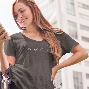 LOVE IS GREATER | women premium slouchy tee | heather gray