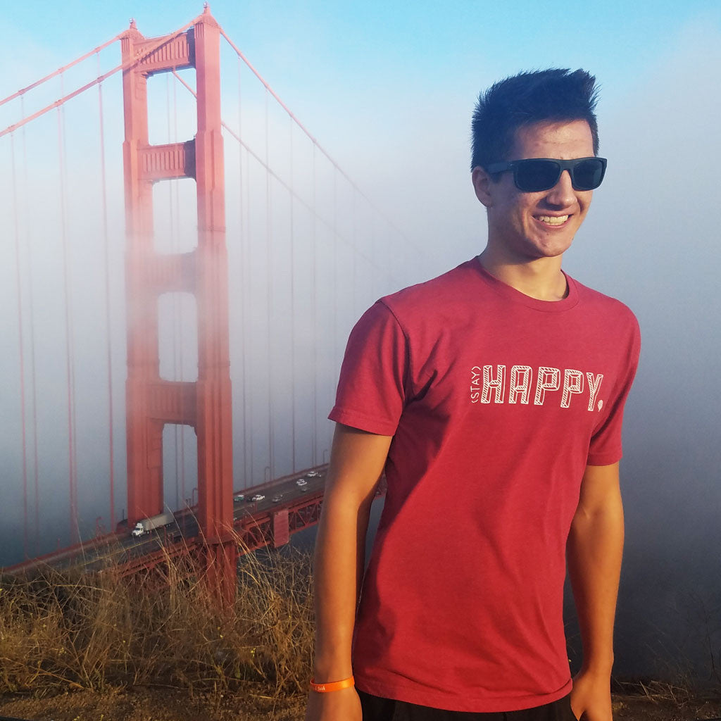 STAY HAPPY | unisex tshirt | cardinal
