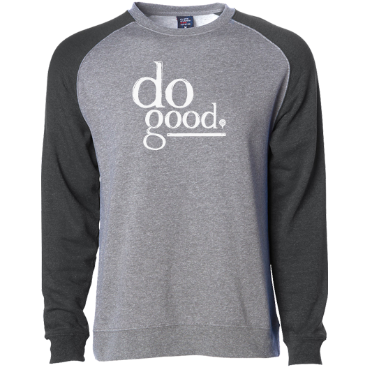 """DO GOOD"" raglan crew sweatshirt - charcoal sleeves/heather gray body"