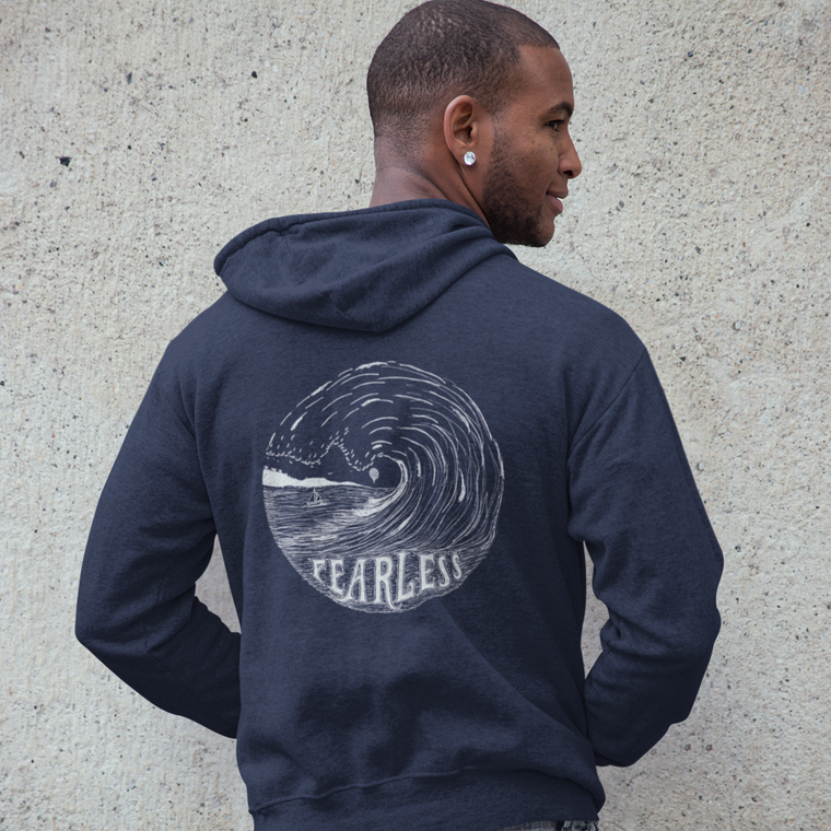 """FEARLESS"" unisex zip up hoodie/navy"