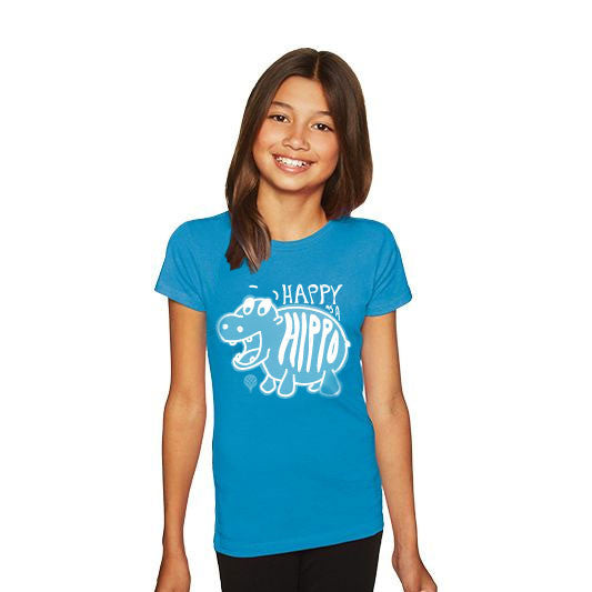 """HAPPY AS A HIPPO"" crew/turquoise"