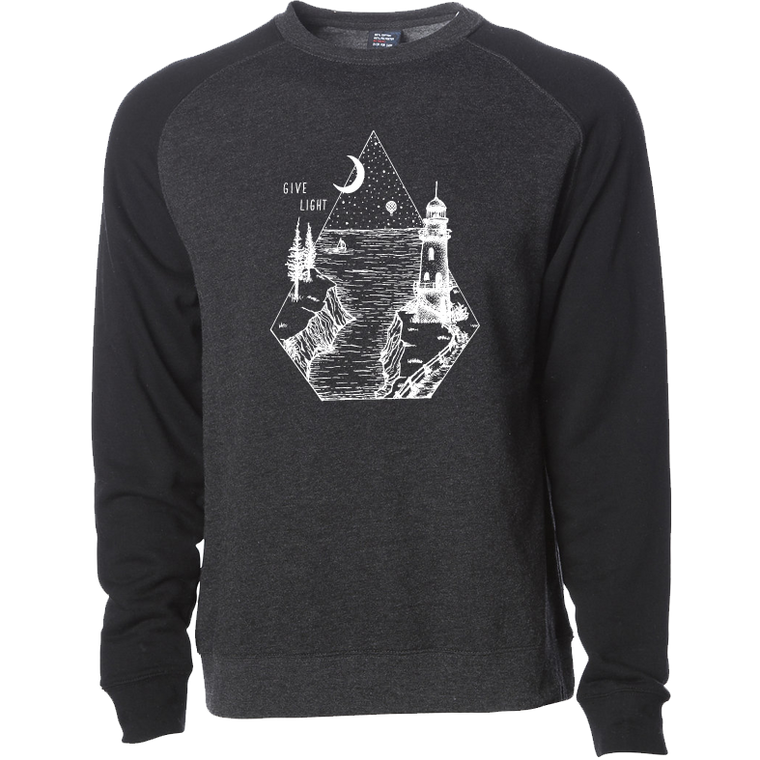 """GIVE LIGHT"" raglan crew sweatshirt - black sleeves/charcoal body"