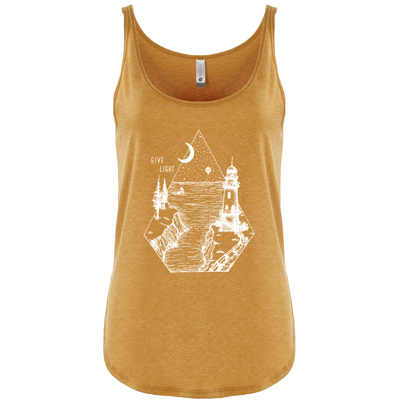 """GIVE LIGHT"" tank/antique gold"