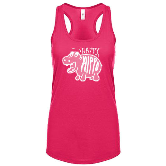 HAPPY as a HIPPO | women tank | raspberry pink