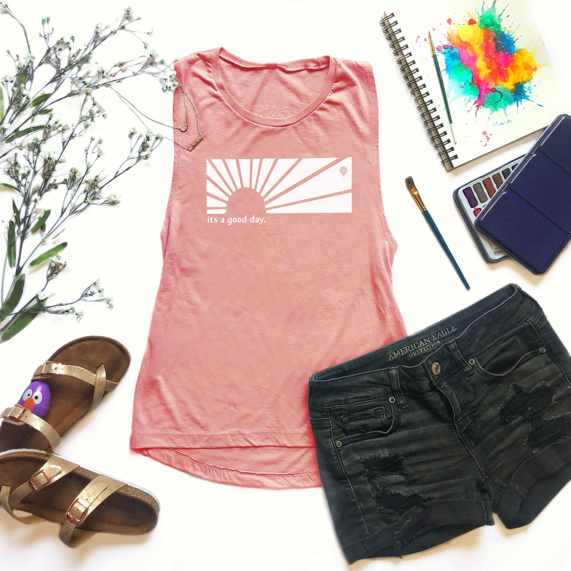 IT'S A GOOD DAY | women muscle tank | desert pink