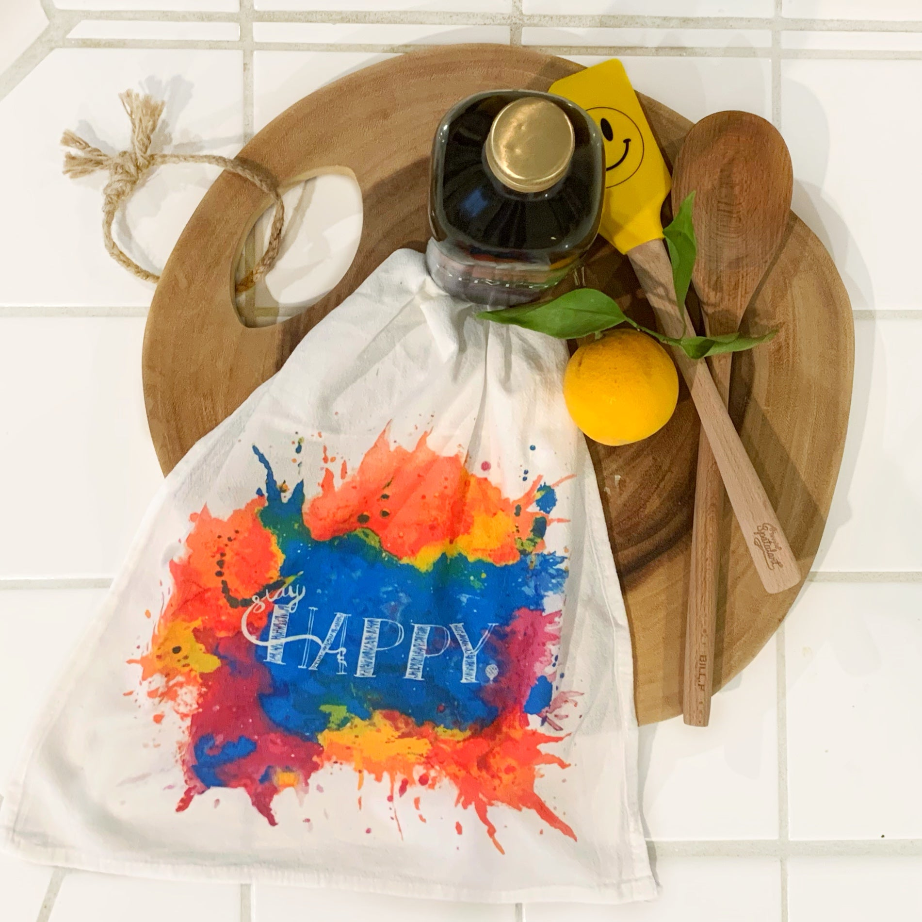 STAY HAPPY | flour sack dish towel