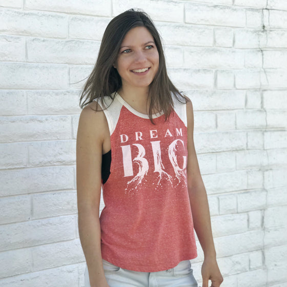 """DREAM BIG"" muscle tank/heather coral"