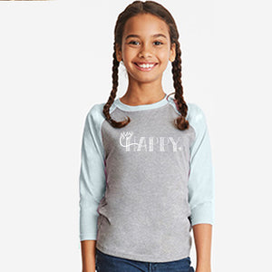 STAY HAPPY | kids unisex 3/4 sleeves baseball tee | gray/blue